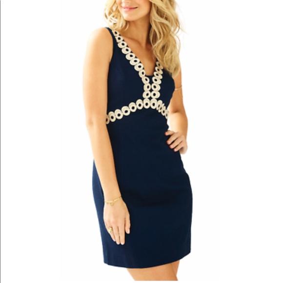 Lily Pulitzer ESME Shift Dress - NWT! Navy & Gold
